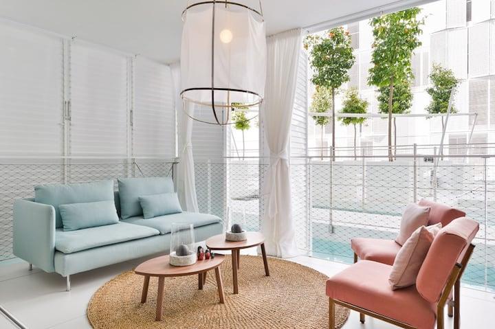 Ibiza Marina Design 2 bed Botafoch pool & garden
