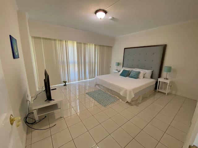 Master bedroom with privacy shutters, television and loads of space.