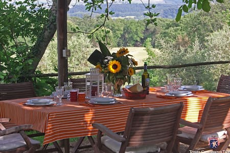 Tuscan Farmhouse overlooking Montalcino with pool - Buonconvento - Huis