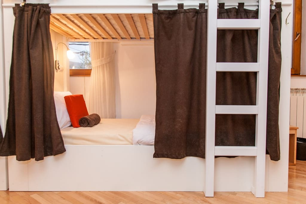 Featuring the best bunks in town. One notable perk - adults can sit up straight on the bottom bunk without hitting their head on the top!
