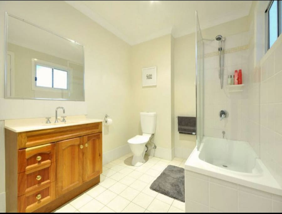 Private use bathroom with washing machine, iron, hairdryer and outside access