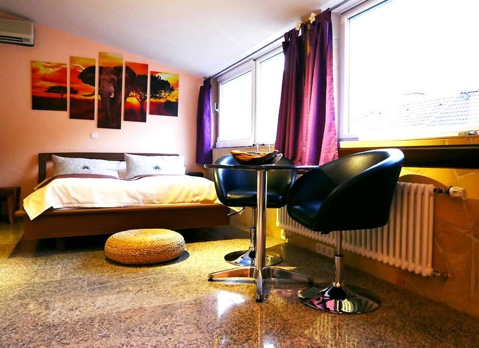 Apartment ZANZIBAR (32 m²) – für 2 Personen Wohn- und Schlafbereich