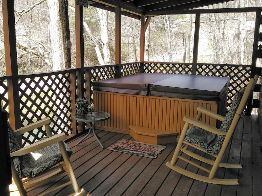 Covered Porch is very private.