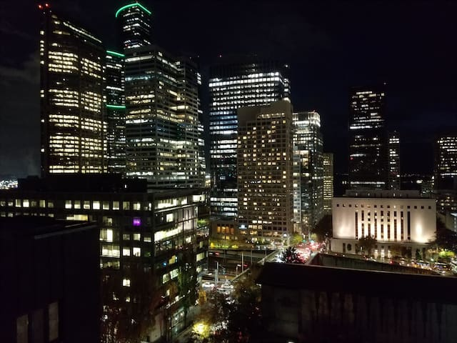 View from the rooftop lounge (up the stairs)