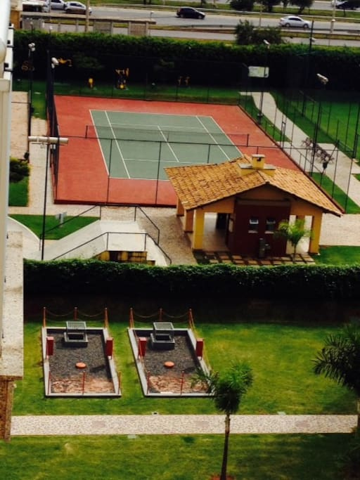 Tennis courts for friendly matches.