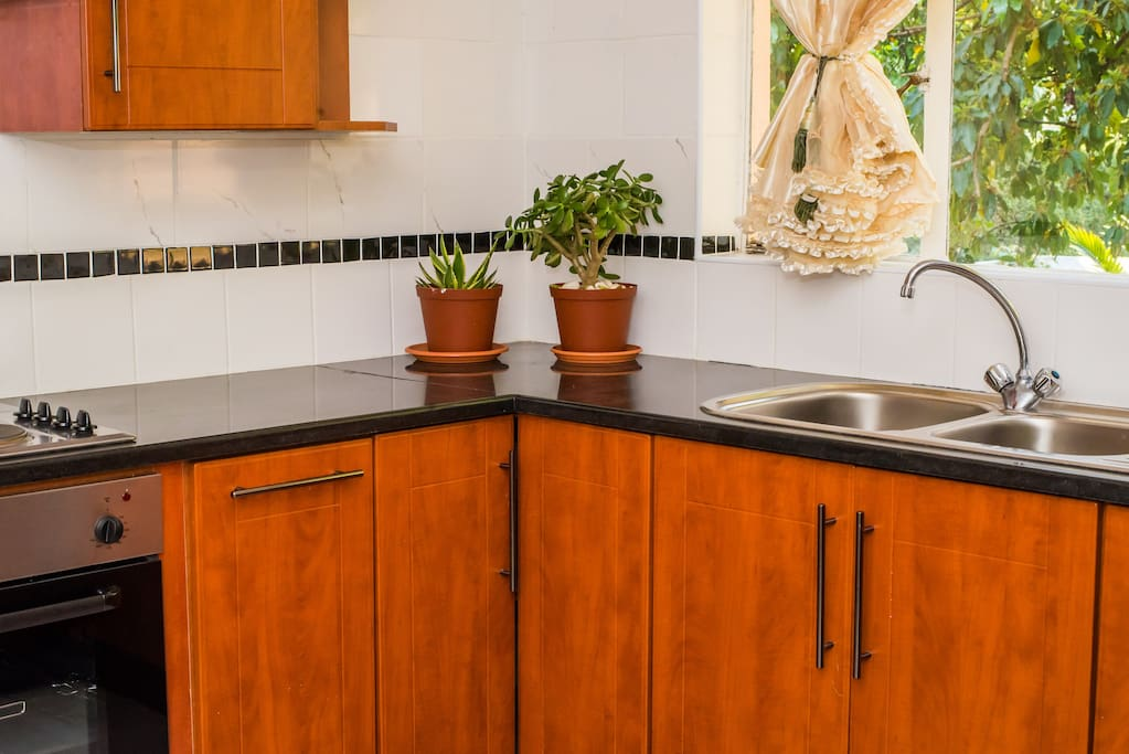 Black Granite Top with Fully Furnished Kitchen