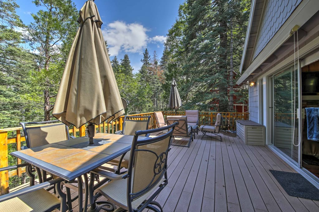 Admire dense tree views from the large deck.