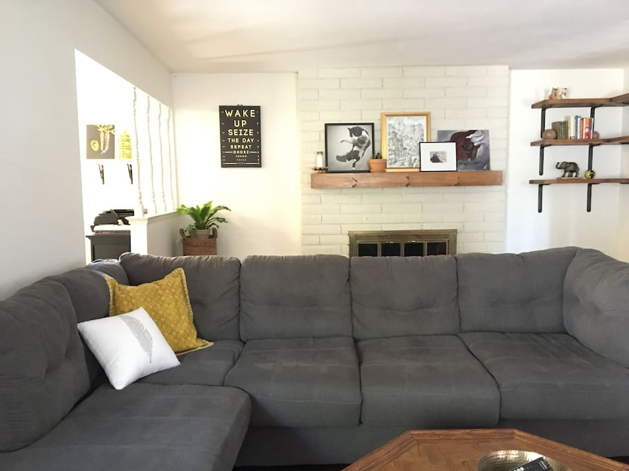 Enjoy this plush beauty of a couch. Have a movie night! Easily sleeps 2 adults if needed.