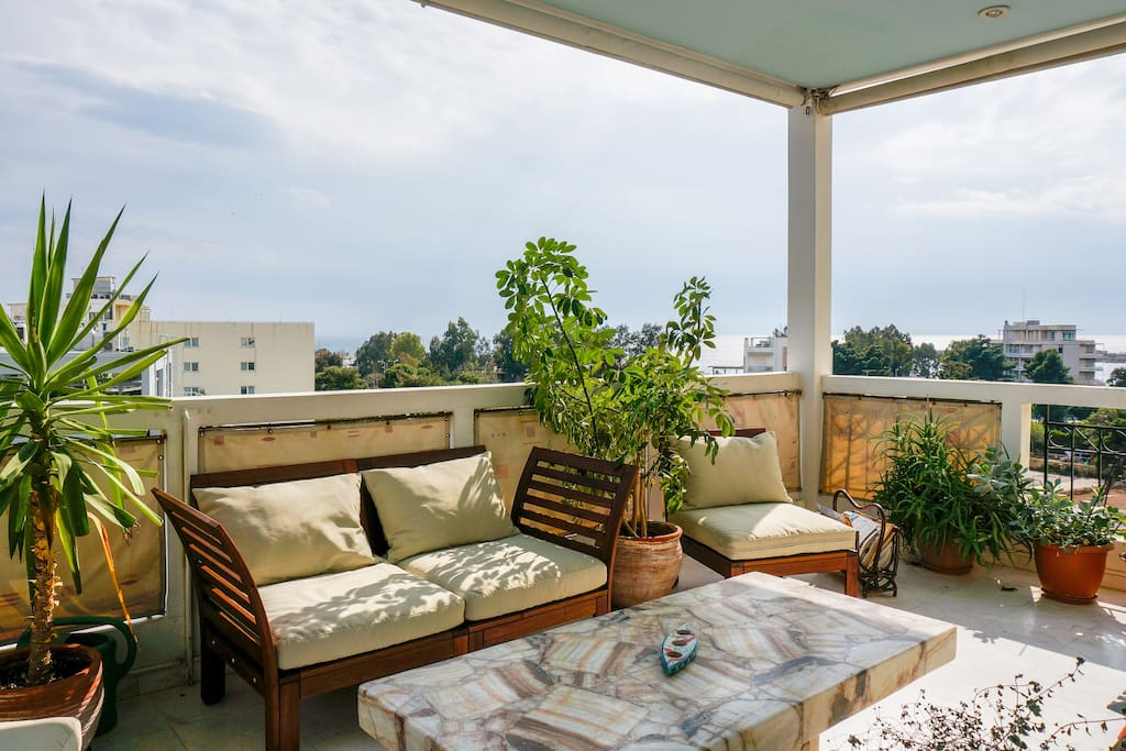 Large balcony with lovely cool sea breeze