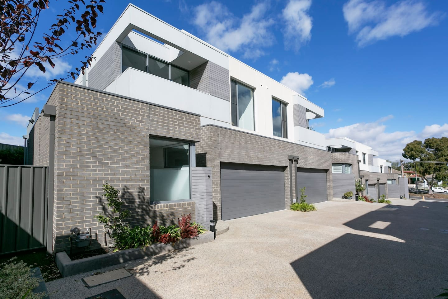 A modern town house at the top of an elevated drive way , safe and secure  with double garage