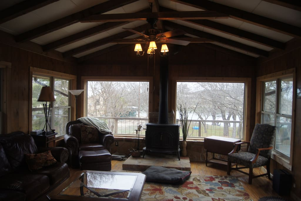 Cozy den with 270 views of the Guadalupe River.