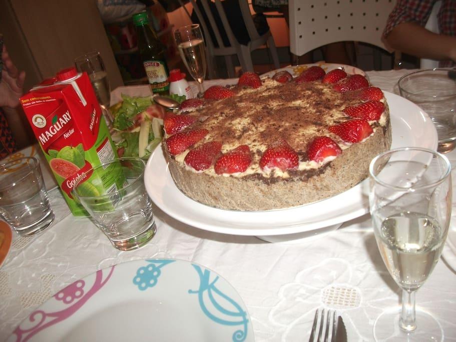 mesa com doce do BRASIL
