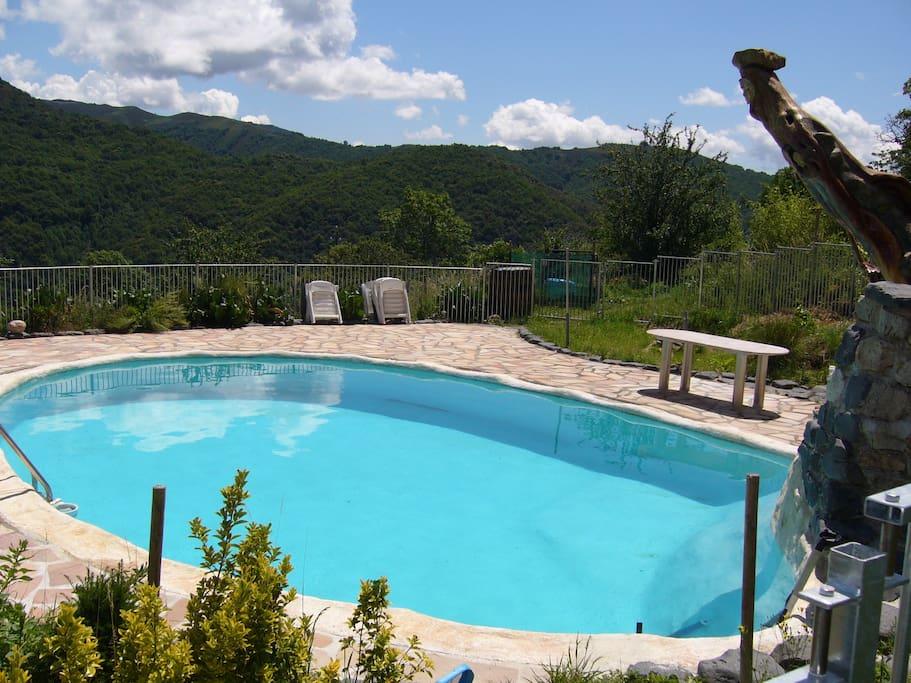 het panoramisch uitzicht en de diepte van het zwembad, ruim 2 meter, met kindveilighekwerk