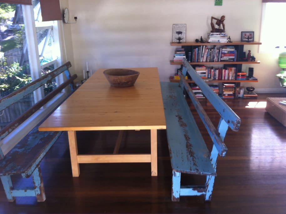 Large open lounge/dining area with all up-cycled furniture.