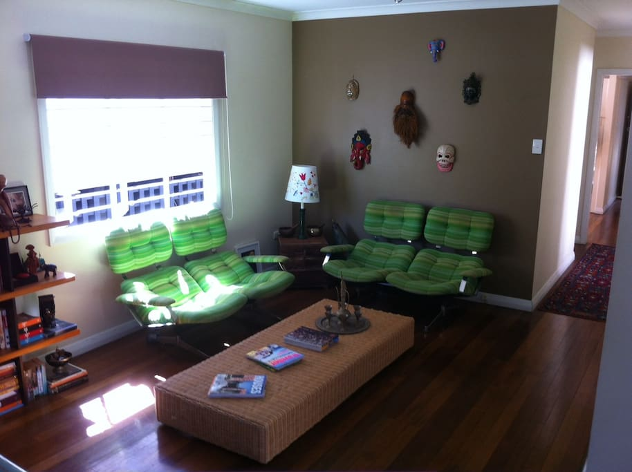 Large open lounge/dining area with all up-cycled furniture