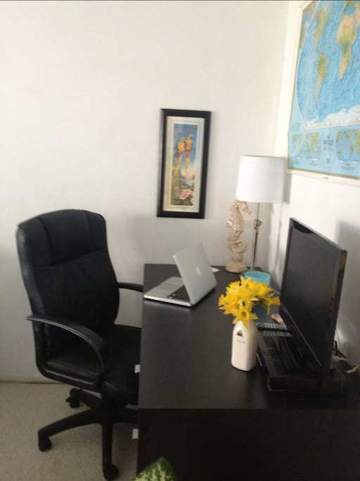 Your nice-sized room also includes desk with upholstered chair and flat screen TV