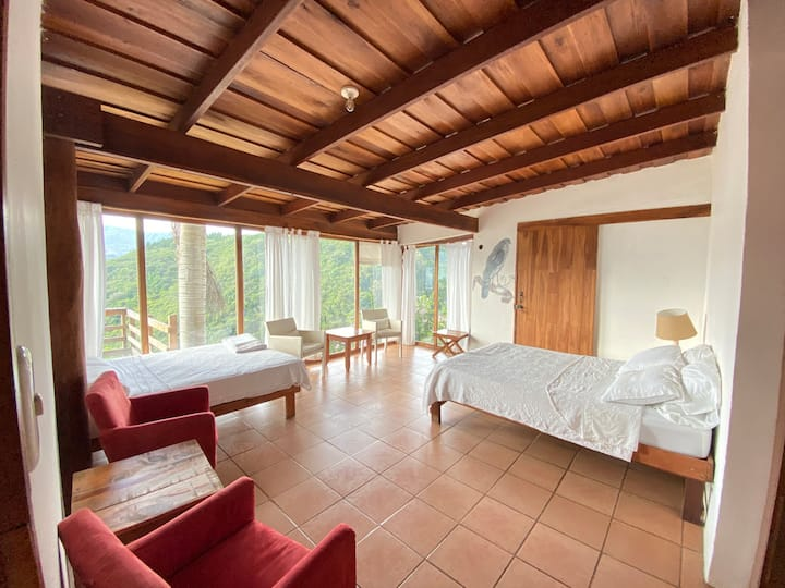 Earthship Master bedroom in natural paradise