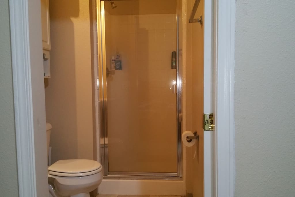 Washroom with closed Shower area