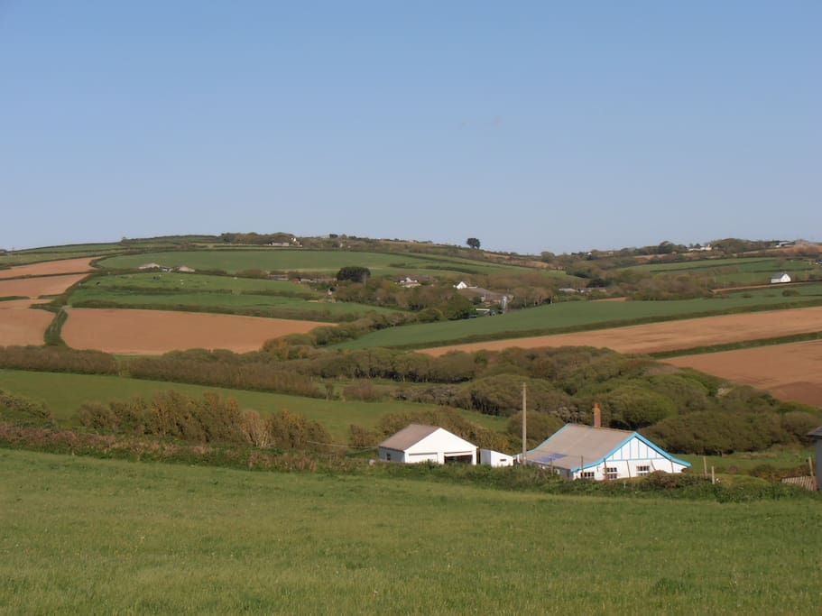 View from the Lark field looking inland to Poughill