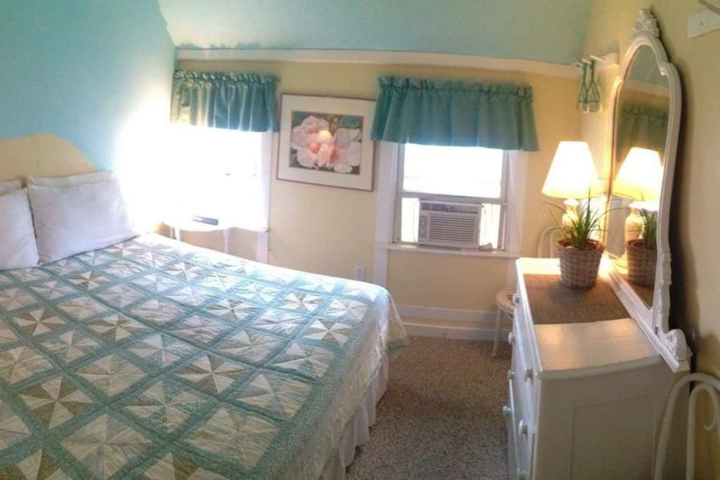Beach Rose room; set up w/ king sized bed (option for 2 single beds). Private bathroom. A/C and heat.