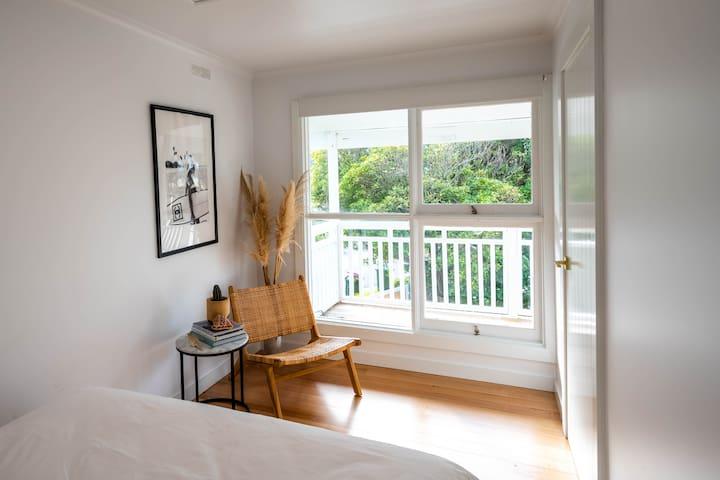 Bedroom #3, view towards balcony first floor