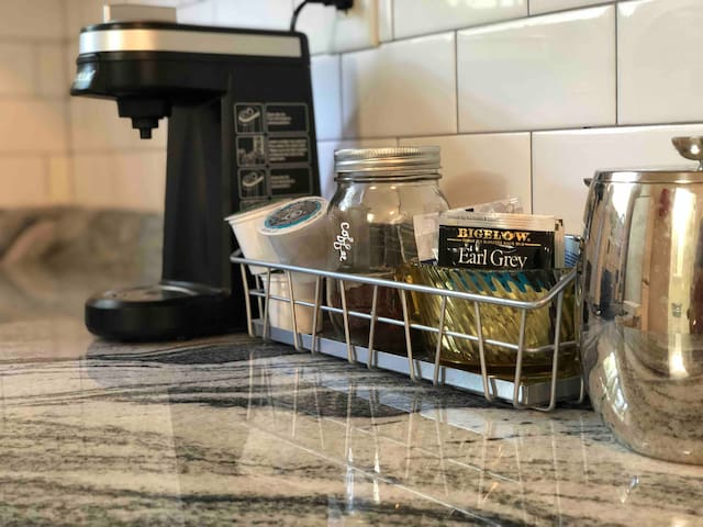 We keep K-cups, tea, and fresh coffee that you can use for the French press.