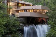 Frank Loyd Wright's famous architecture Fallingwater. 1 hour 14 min.  away