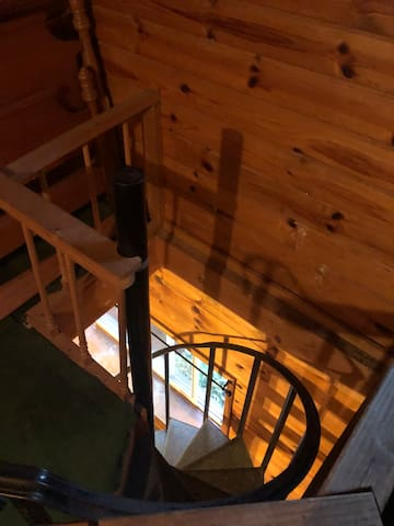 Spiral stairs up to loft