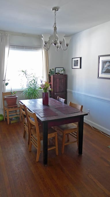 dining table in open kitchen.