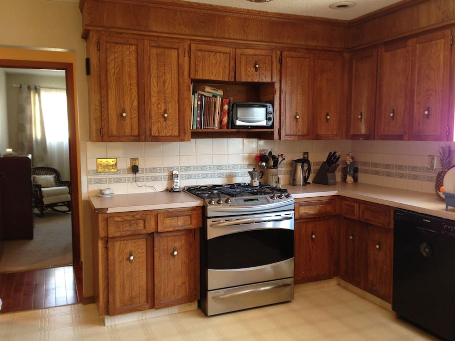 Shared kitchen space, with bran new gas range, plus every other new amenity.