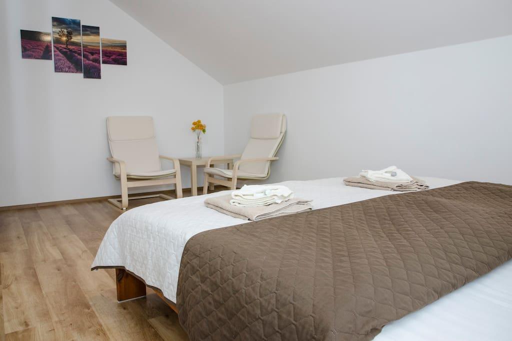 Pokoj pro hosty s přístupem na balkon / Guest room with access to a balcony
