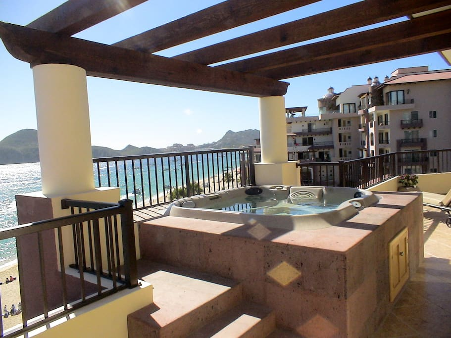 Hot Tub on the Fifth Floor Balcony of the four star Villa Del Arco Resort in Cabo San Lucas.