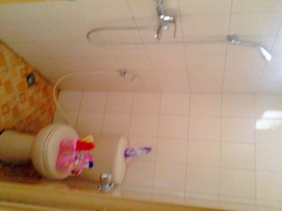Toilet dengan Kloset duduk, stand shower dan air panas.