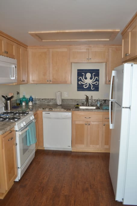 Full kitchen with laundry room closet.