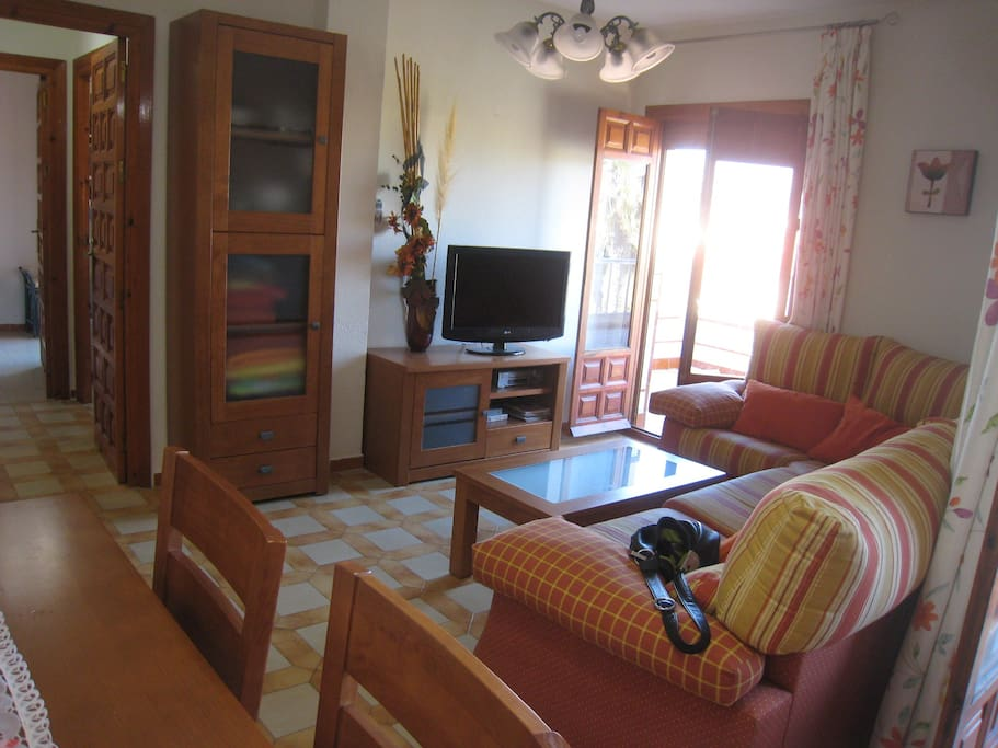 Large, nicely decorated living room-dining room area with big television, DVD player, full-sized table, and espresso machine.