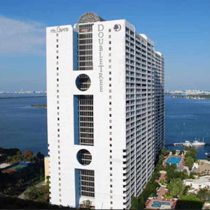 Beautiful building on the water, with great views, a marina, and plenty of amenities