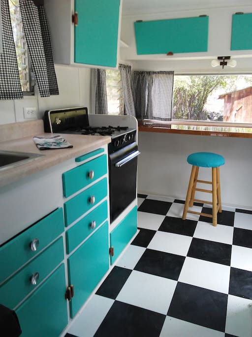 Retro design with a fabulous counter to sit and have your coffee and look out at the Wind River!