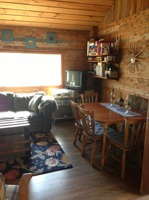 Rustic and very comfortable.  Open concept kitchen, dining, living space