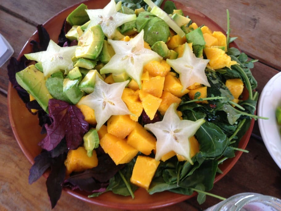 Bounty of tropical fruit available all year at many restaurants near