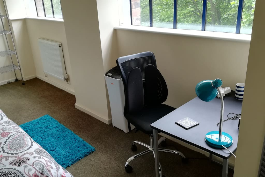 Comfy back-friendly chair and work desk, with lamp, USB charge plugs and USB/Bluetooth HiFi Speaker for listening to your favourite tunes - great views over mature trees.