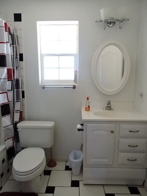 Full Private Bathroom with deep bathtub.