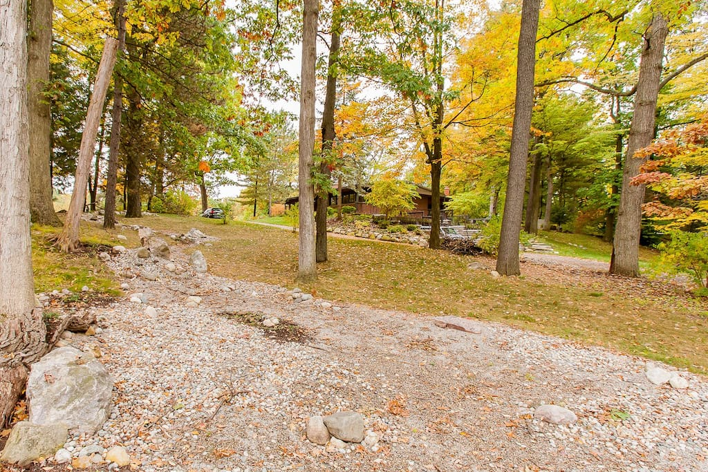 Fully wooded 1 acre lot with natural landscaping.