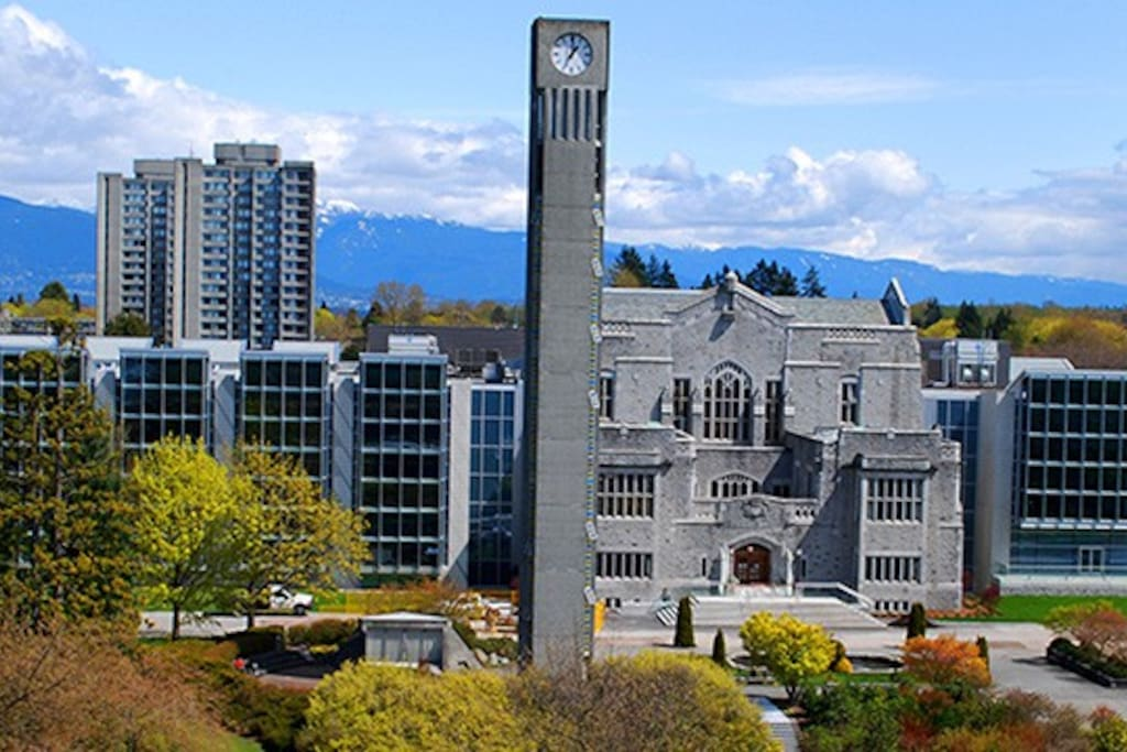 Our apartment in located right in UBC near campus/university grounds (picture of UBC Main Library and the clock tower)