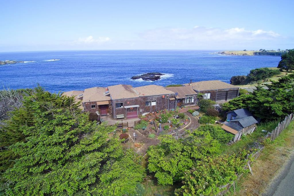 Ariel View of Home with Mendocino in the Background