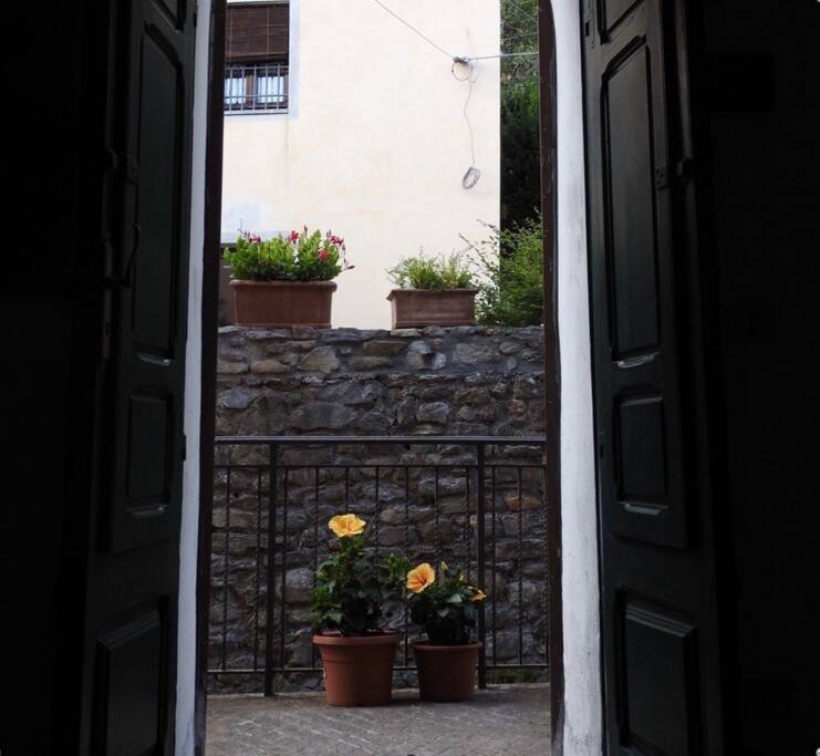 """The front door opens onto the """"Chiassi"""" the old village alleys which lead to the famous """"Rocca"""" the castle tower"""