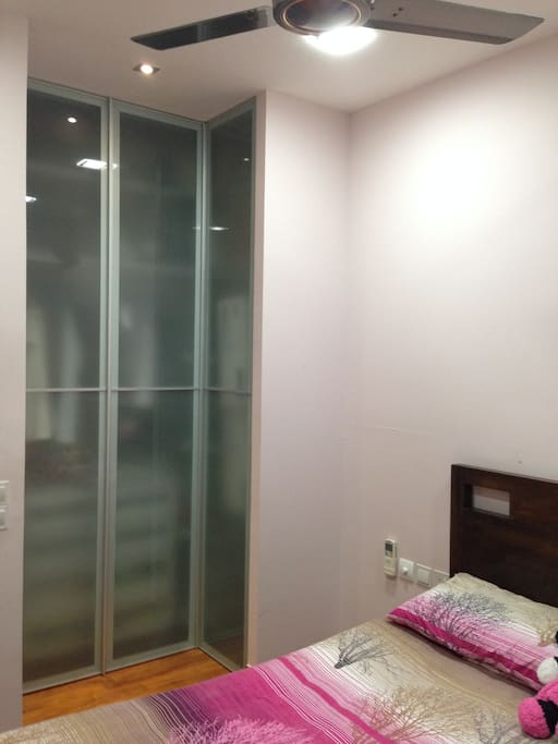 Spacious wardrobe to the ceiling height