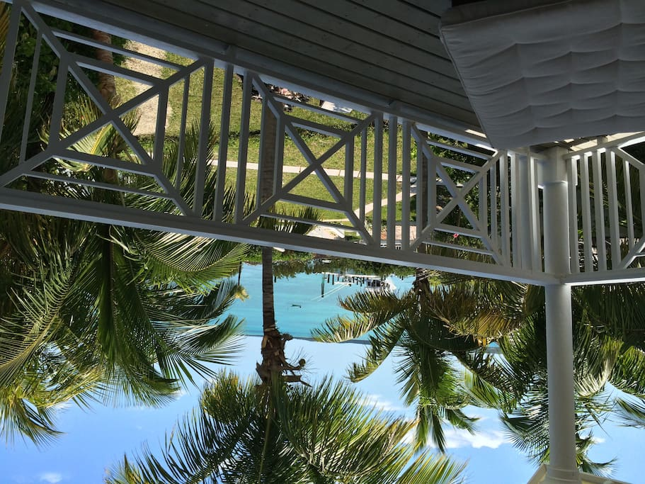 View from upstairs balcony overlooking your own private dock slip on the doorstep