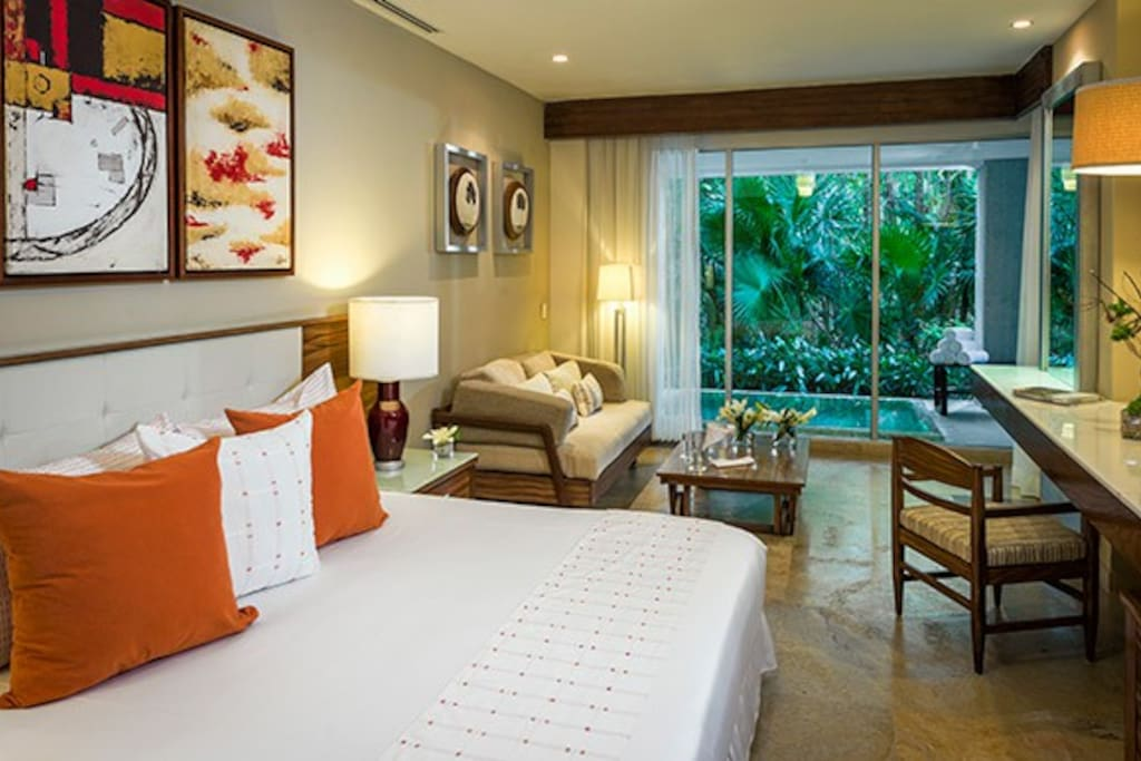 Master bedroom walks out to private pool