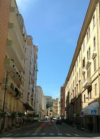 Alghero street, crossing 100meters Via Satta , one of the Main Street of Cagliari