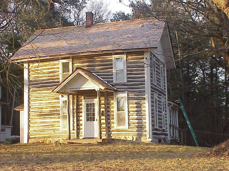 Log House side view with porch